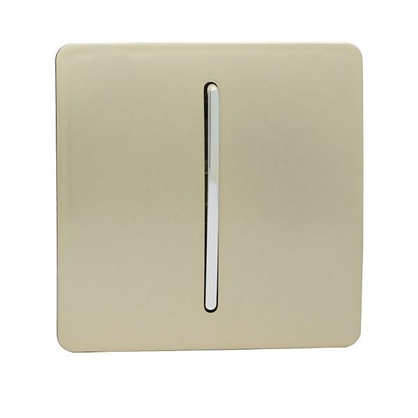 Trendi Switch 1 Gang 2 Way 10 Amp Rocker Light Switch in Screwless Gold