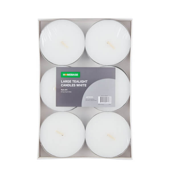 Large Tealight Candles White 6pk