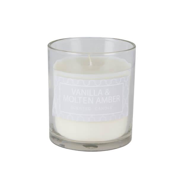 Vanilla & Molten Amber Glass Candle