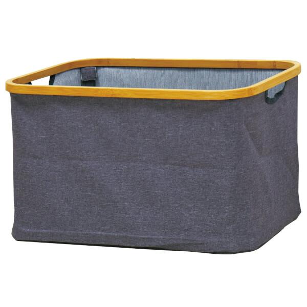 Fabric Storage With Bamboo Edge - Grey