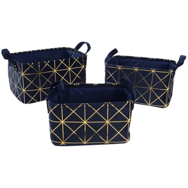 3 Crushed Velvet Baskets Navy
