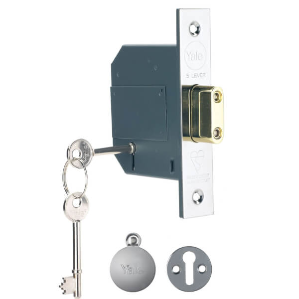Yale BS 5L Deadlock 64mm / 2.5 inches - Chrome