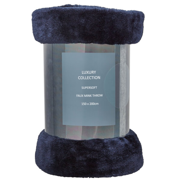 Faux Mink Throw - Navy