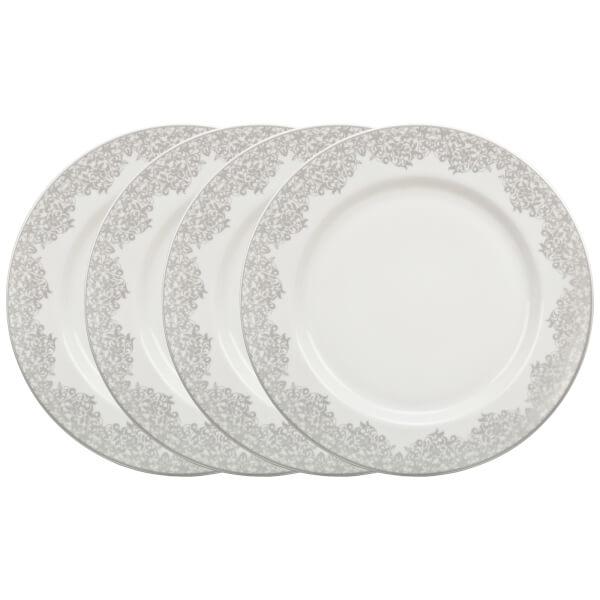Denby Monsoon Filigree Silver Dinner Plates - 4 Piece Set