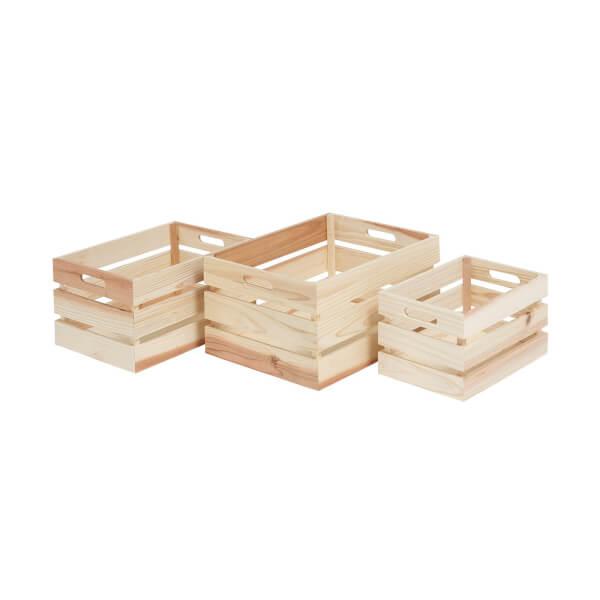 Natural Wooden Crates - Set of 3