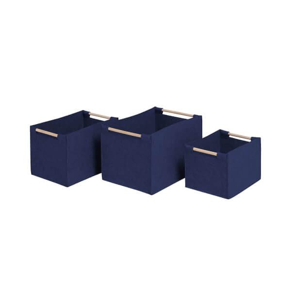 Navy Blue Felt Baskets with Wooden Handles - Set of 3