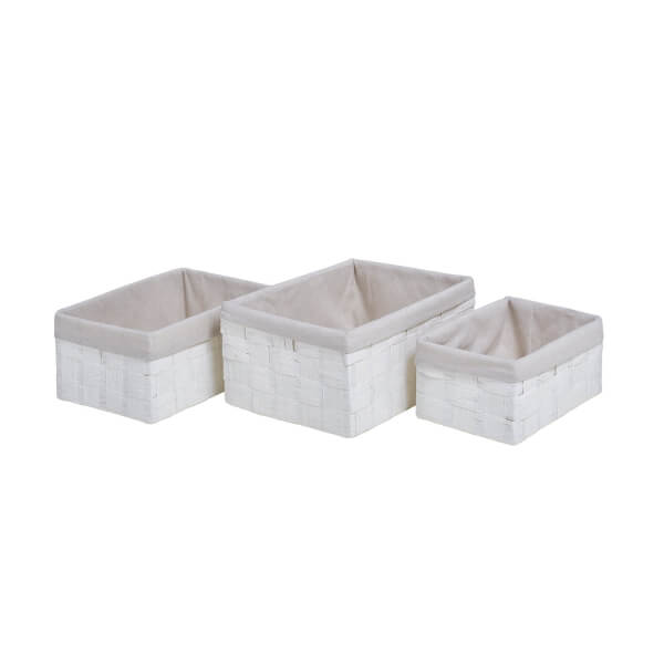Paper Weave Baskets - White - Set of 3