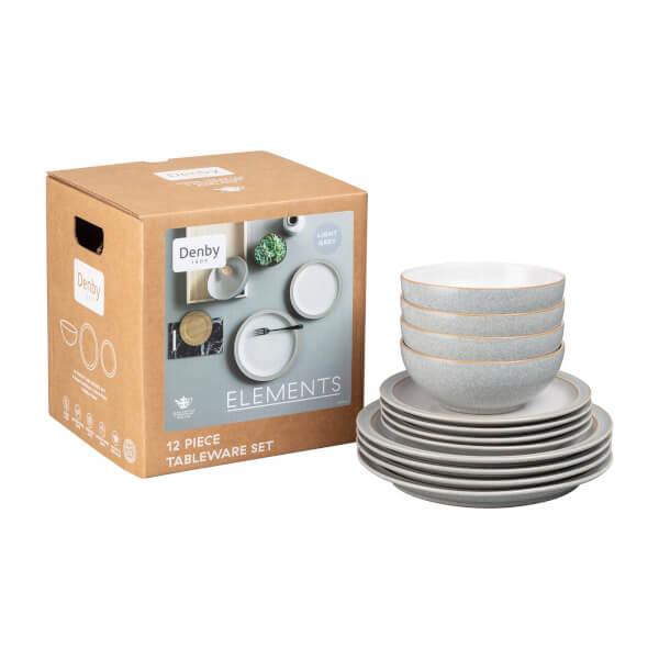 Denby Elements 12 Piece Tableware Set - Light Grey