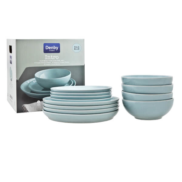 Denby Intro 12 Piece Tableware Set - Pale Blue