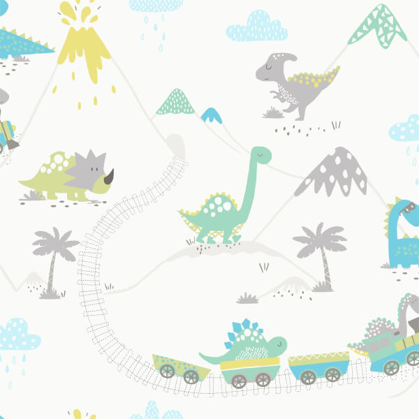 Holden Decor Dino Town Dinosaur Smooth  Grey and Soft Teal Wallpaper