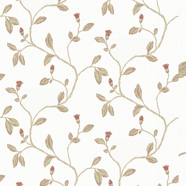 Holden Decor Lia Floral Textured  Red and Cotton Wallpaper