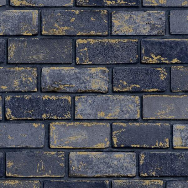 Arthouse Metallic Brick Navy Wallpaper