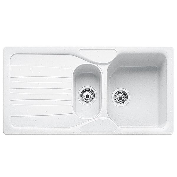 Carron Phoenix Calypso 1.5 Bowl Granite Sink - White