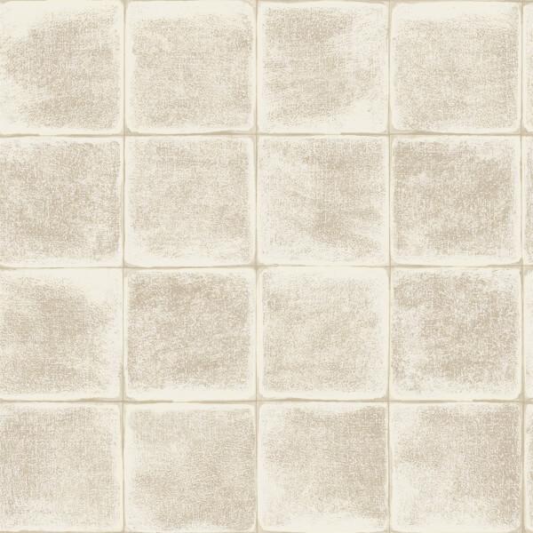 Holden Decor Furano Tile Textured Metallic Cream Wallpaper