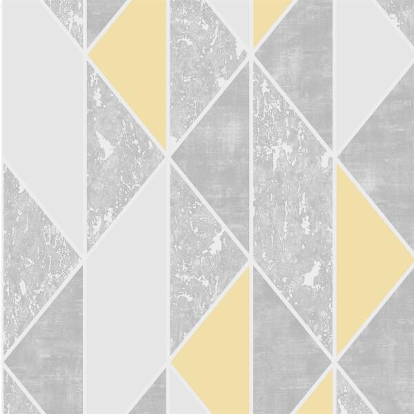 Superfresco Milan Geo Yellow & Grey Wallpaper
