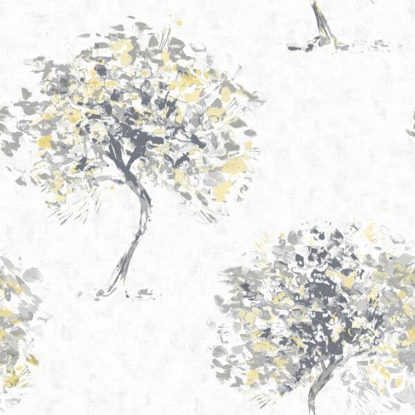 Holden Decor Beacon Fell Tree Smooth Metallic Yellow and Grey Wallpaper