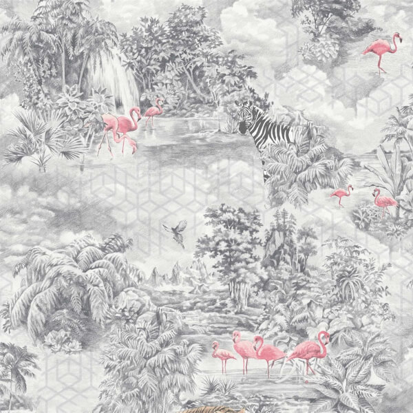 Holden Decor Mayang Jungle Smooth Metallic Grey Wallpaper