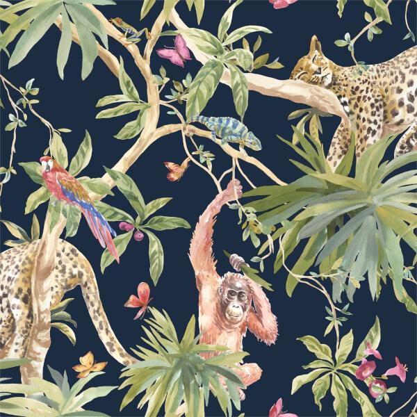 Holden Decor Jungle Animals Smooth Metallic Navy Background Wallpaper