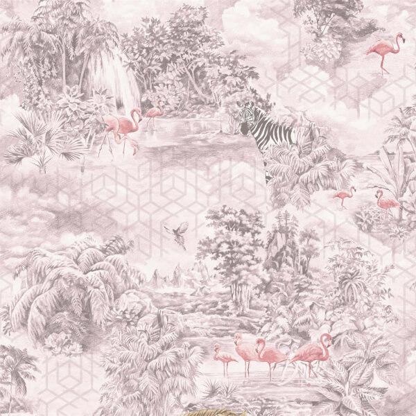 Holden Decor Mayang Jungle Smooth Metallic Pink Wallpaper