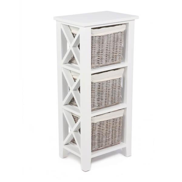 Bude 3 Wicker Baskets Cabinet