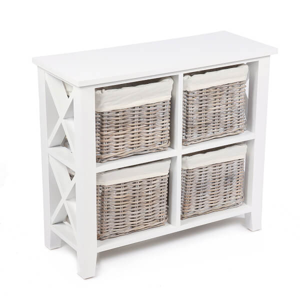 Bude 4 Wicker Baskets Square Cabinet