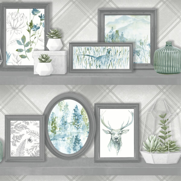 Holden Decor Stag Frames Animal Smooth Grey and Teal Wallpaper