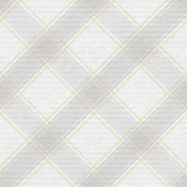 Holden Decor Aidan Check Tartan Smooth Yellow and Grey Wallpaper