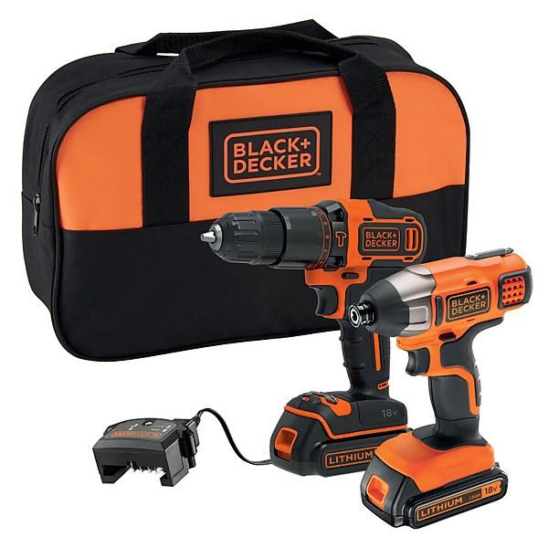BLACK+DECKER 18V Cordless Combi Drill and Impact Driver (BCK25S2S-GB)