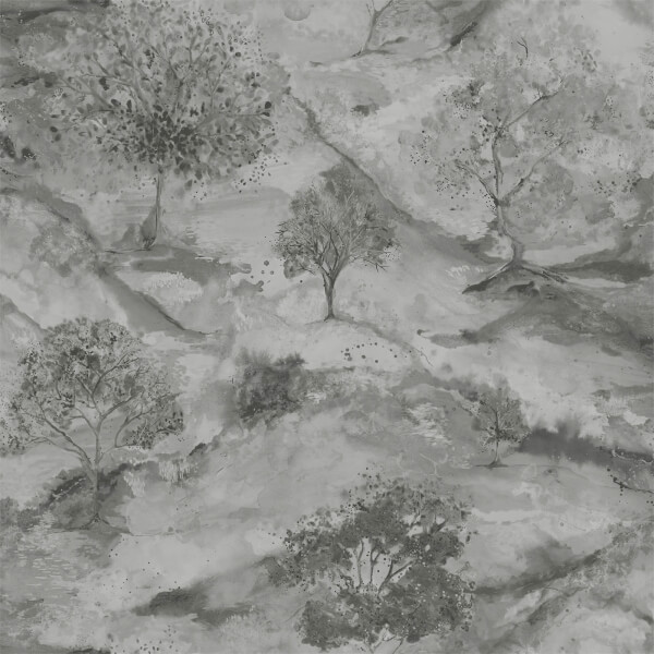 Holden Decor Ascadia Tree Textured Metallic Grey and Silver Wallpaper