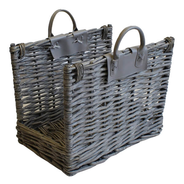 Grey Wicker Log Carrier With Handles