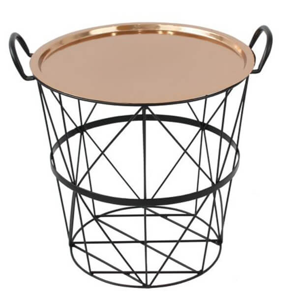 Wire Log Basket With Copper Lid Small