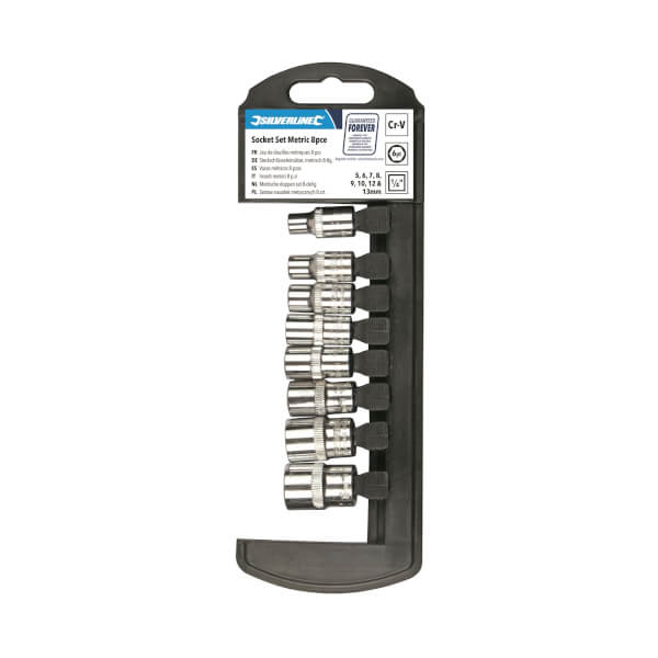 Silverline 8 Piece Socket Set 1/4 6 Point Metric - 5-13mm