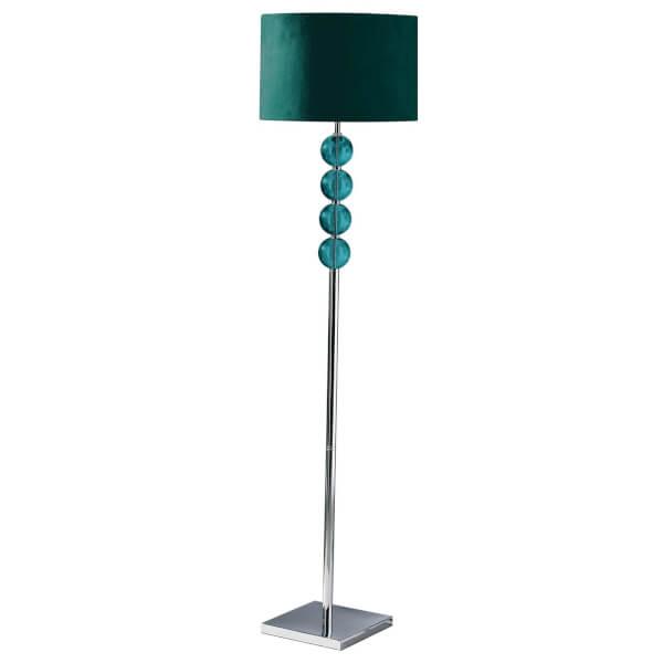 Mistro Teal Suede Effect Shade Floor Lamp