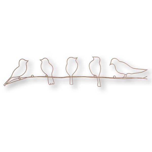 Bird On A Wire Metal Art - Rose Gold