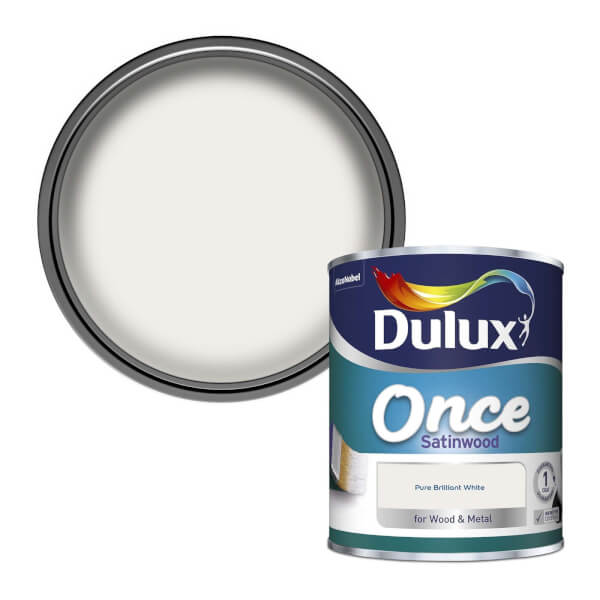 Dulux Once Pure Brilliant White - Satinwood Paint - 750ml