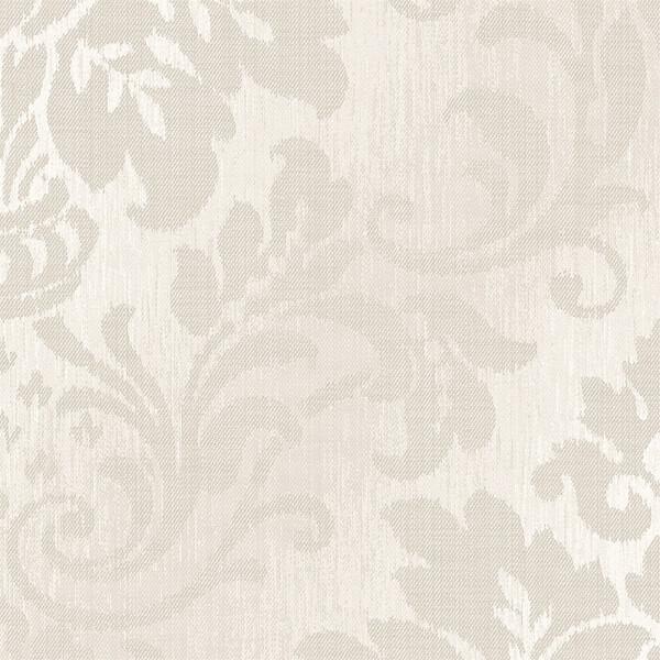 Grandeco Royal House Fabric Damask Taupe Wallpaper