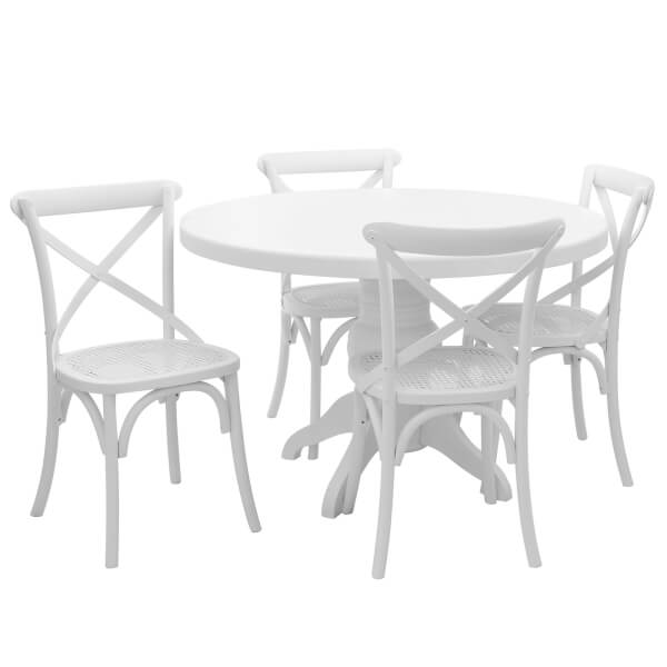 Vermont 4 Seater Dining Set - White Wash
