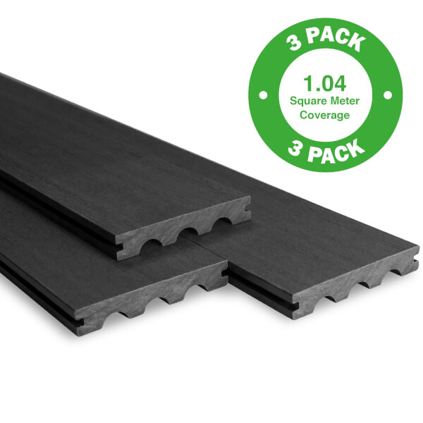 Bridge Board Composite Decking - 3 Pack - Ebony - 1.04 m2