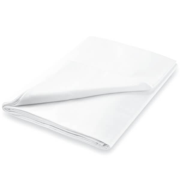 Peacock Blue Hotel 600 Thread Count Plain Dye Flat Sheet - Single - White