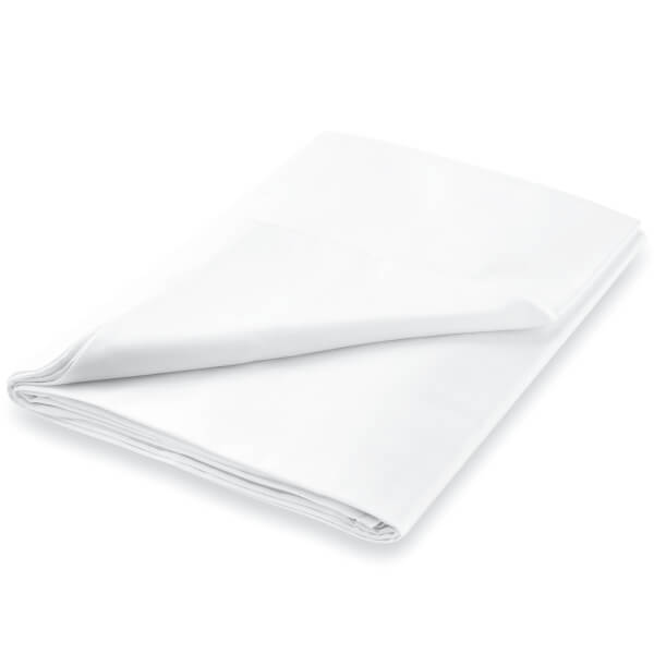 Peacock Blue Hotel 600 Thread Count Plain Dye Flat Sheet - Super King - White