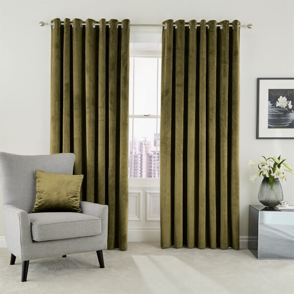 Peacock Blue Hotel Collection Escala Lined Curtains 90 x 90 - Olive