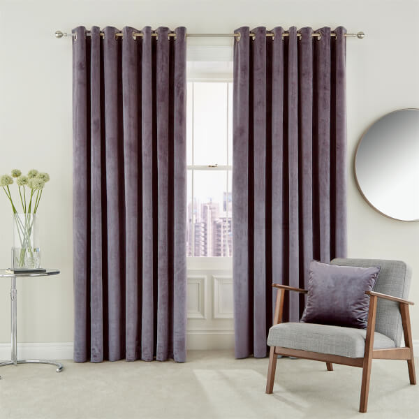 Peacock Blue Hotel Collection Escala Lined Curtains 66 x 54 - Damson