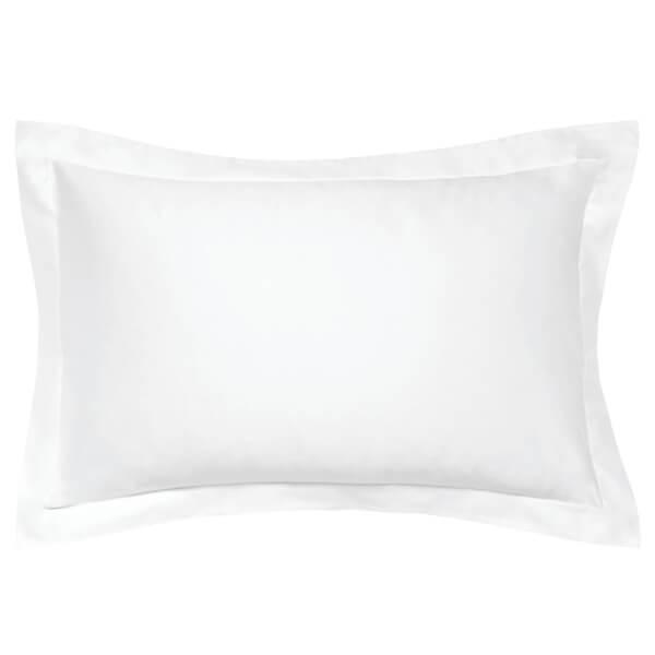 Peacock Blue Hotel 600 Thread Count Plain Dye Oxford Pillowcase - White