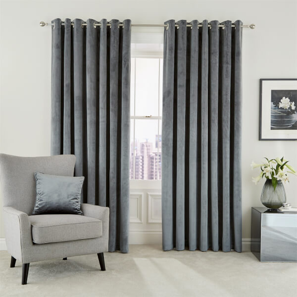 Peacock Blue Hotel Collection Escala Lined Curtains 66 x 72 - Steel