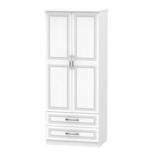 Milton 2 Drawer Wardrobe - White