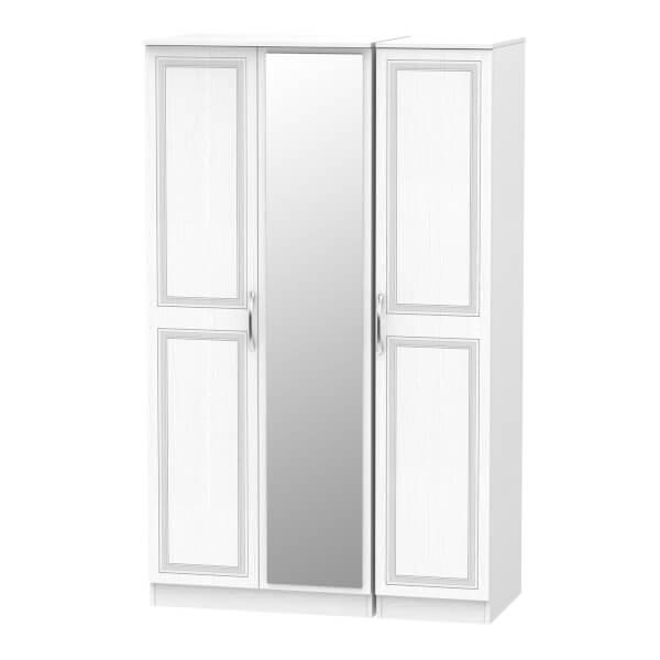 Milton Triple Mirror Wardrobe - White