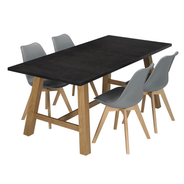 Brooklyn 4 Seater Dining Set - Louvre Dining Chairs - Grey