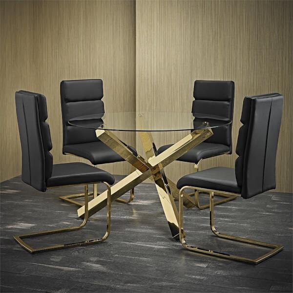 Capri 4 Seater Dining Set - Antibes Dining Chairs - Black