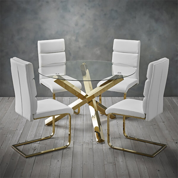 Capri 4 Seater Dining Set - Antibes Dining Chairs - White