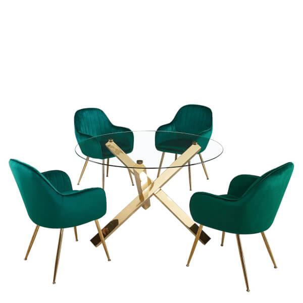 Capri 4 Seater Dining Set - Lara Dining Chairs - Green